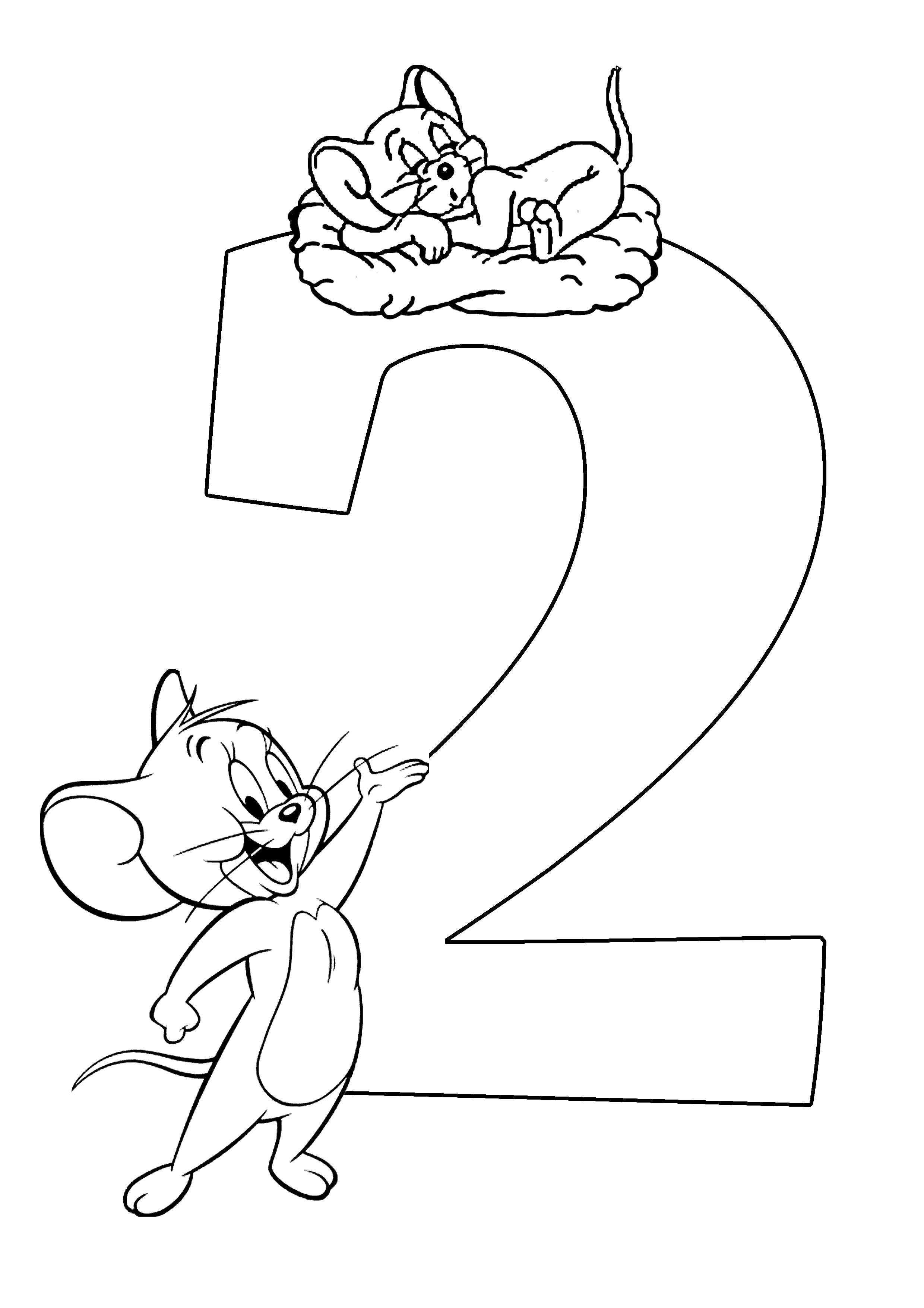 Раскраска Веселый счет две мышки. Скачать с цифрами.  Распечатать с цифрами