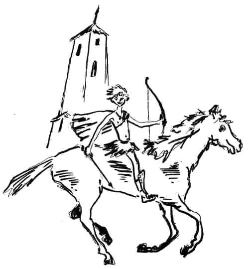 Раскраска Всадник на лошади. Скачать .  Распечатать