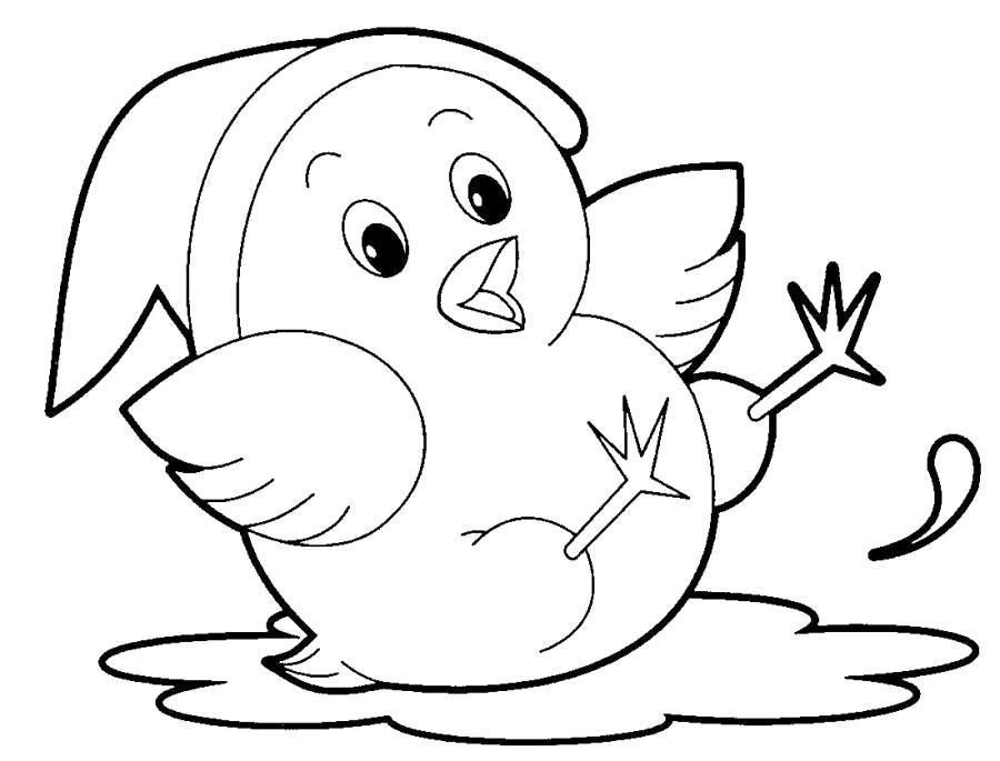 Раскраска Цыпленок в колпаке . Скачать Цыпленок.  Распечатать Цыпленок