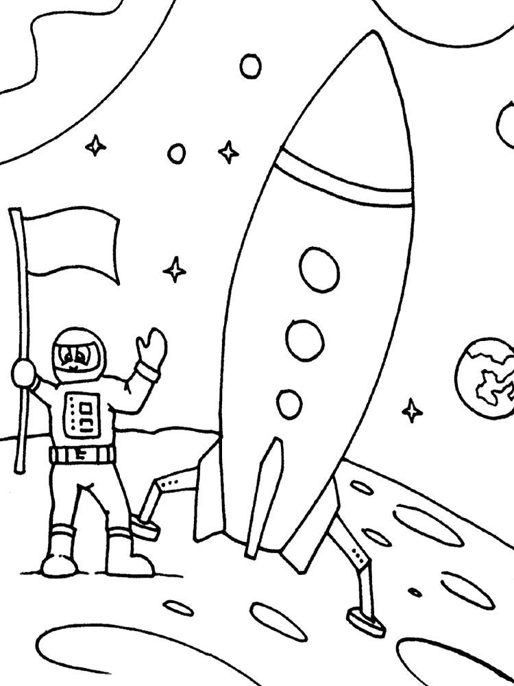 Раскраска Покорение Луны. Скачать день космонавтики.  Распечатать день космонавтики