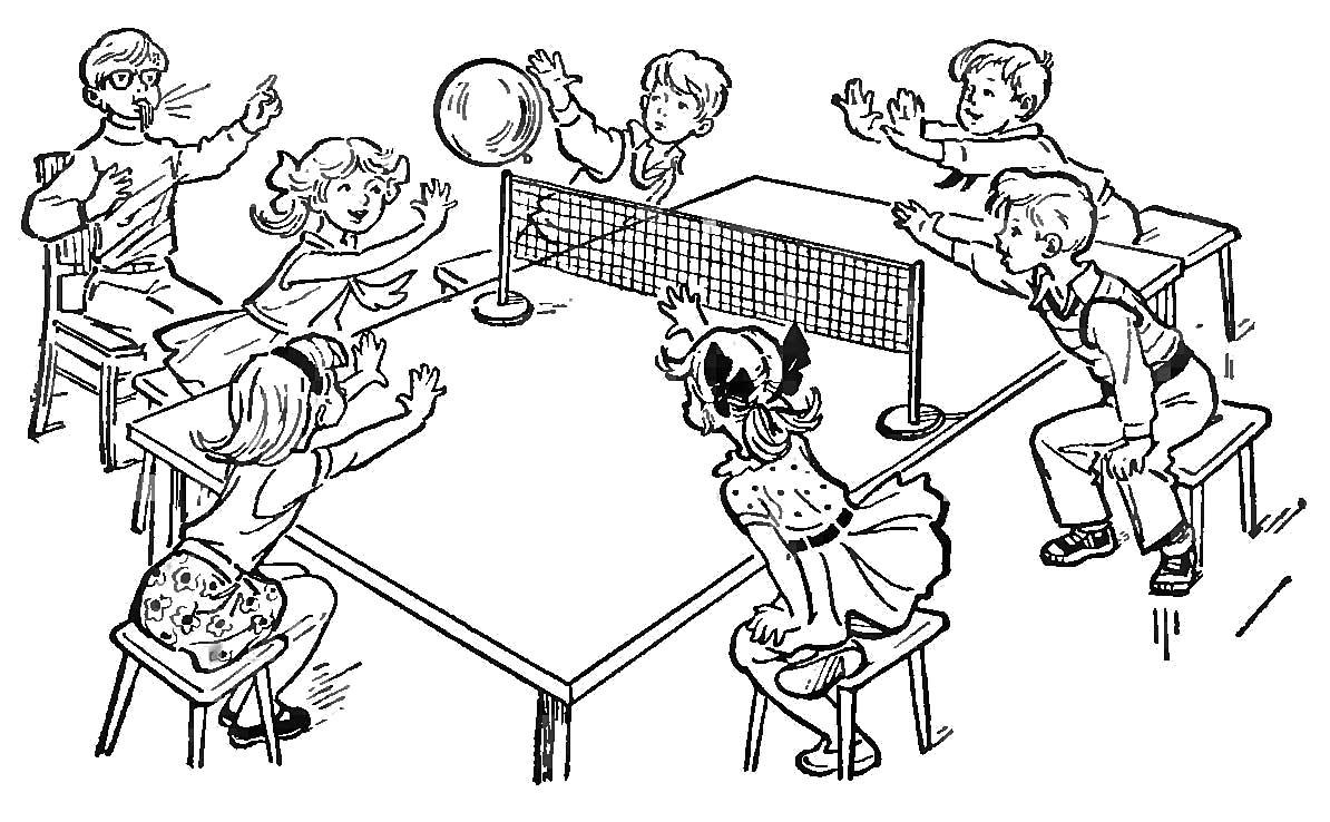 Раскраска Волейбол, настольный волейбол. Скачать Волейбол.  Распечатать Волейбол
