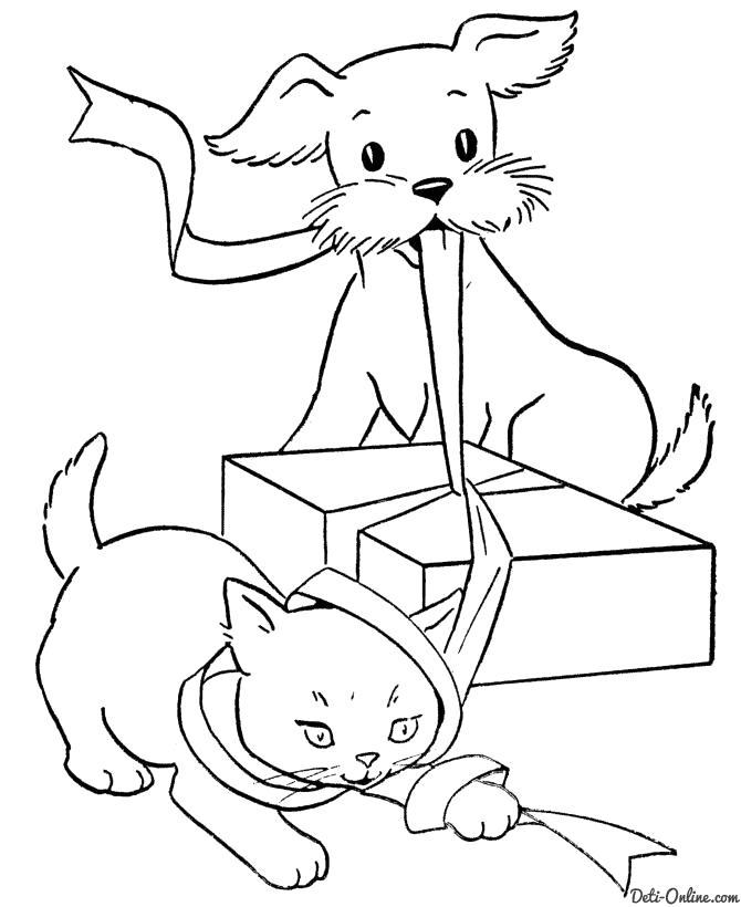 Раскраска  Кошка и собака открывают подарок. Скачать кот.  Распечатать кот