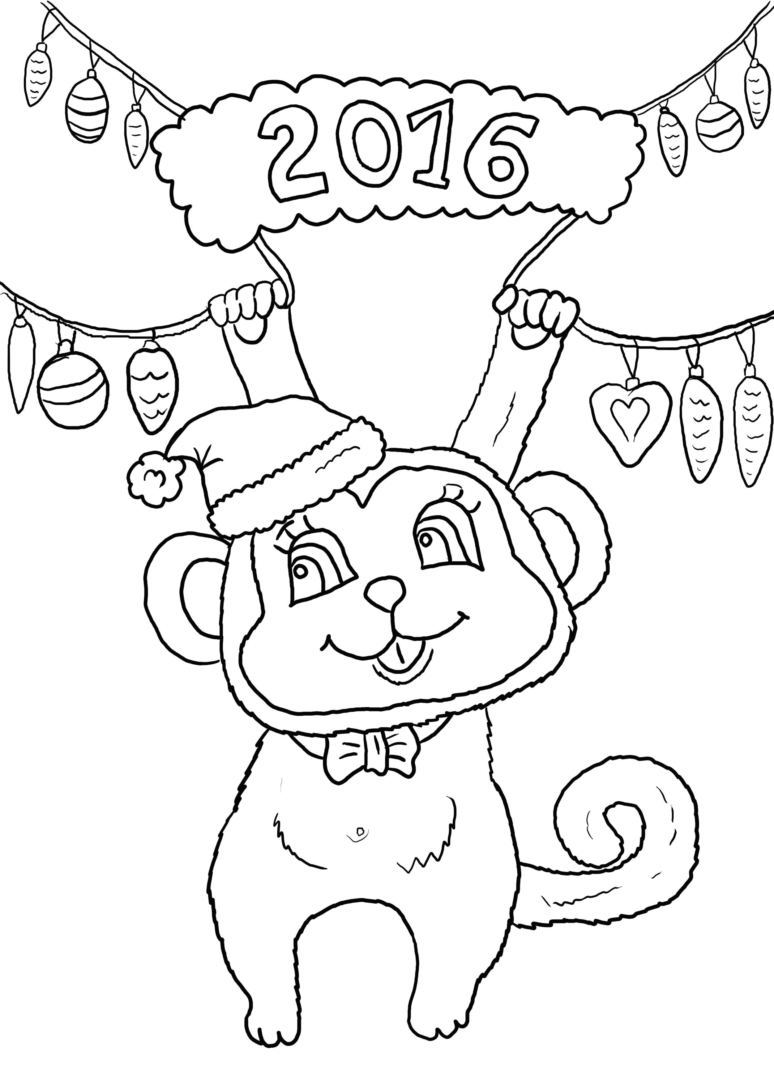 Раскраска год обезьяны, новый год. Скачать новогодние.  Распечатать новогодние