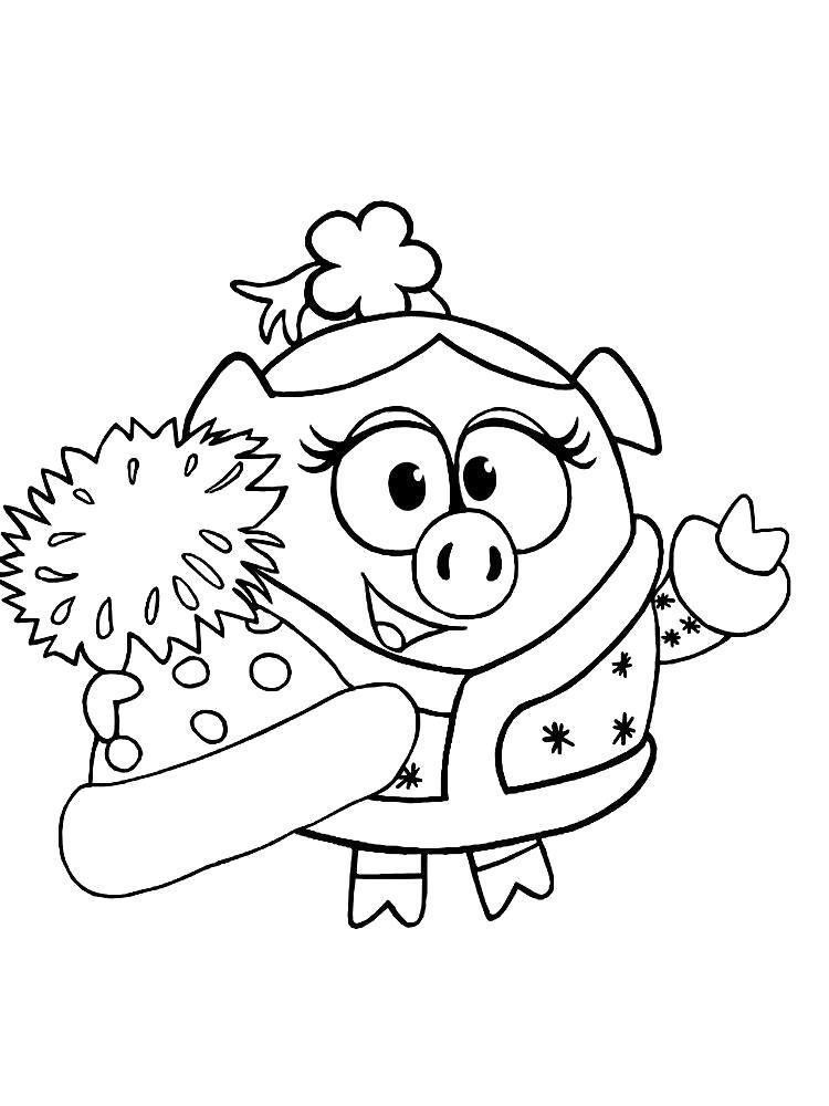 Раскраска Черно-белые картинки Смешарики Нюша для раскрашивания. Нюша в зимней одежде. Скачать Нюша.  Распечатать Смешарики