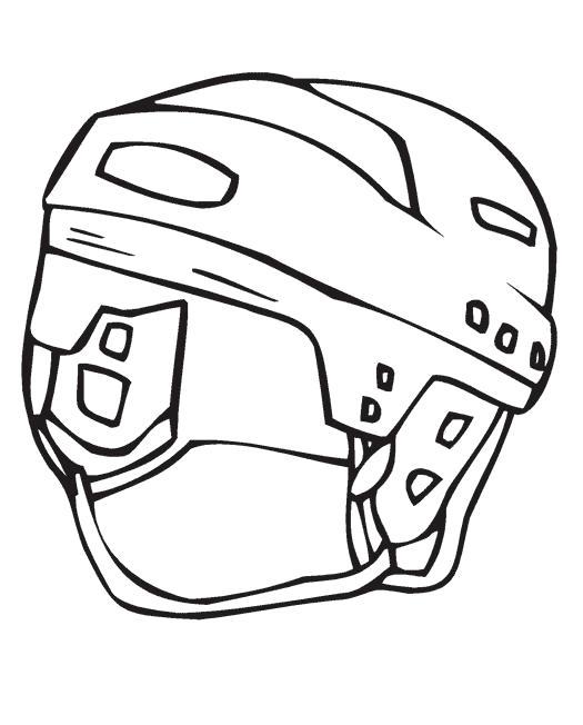 Раскраска Шлем защищает хоккеиста . Скачать .  Распечатать