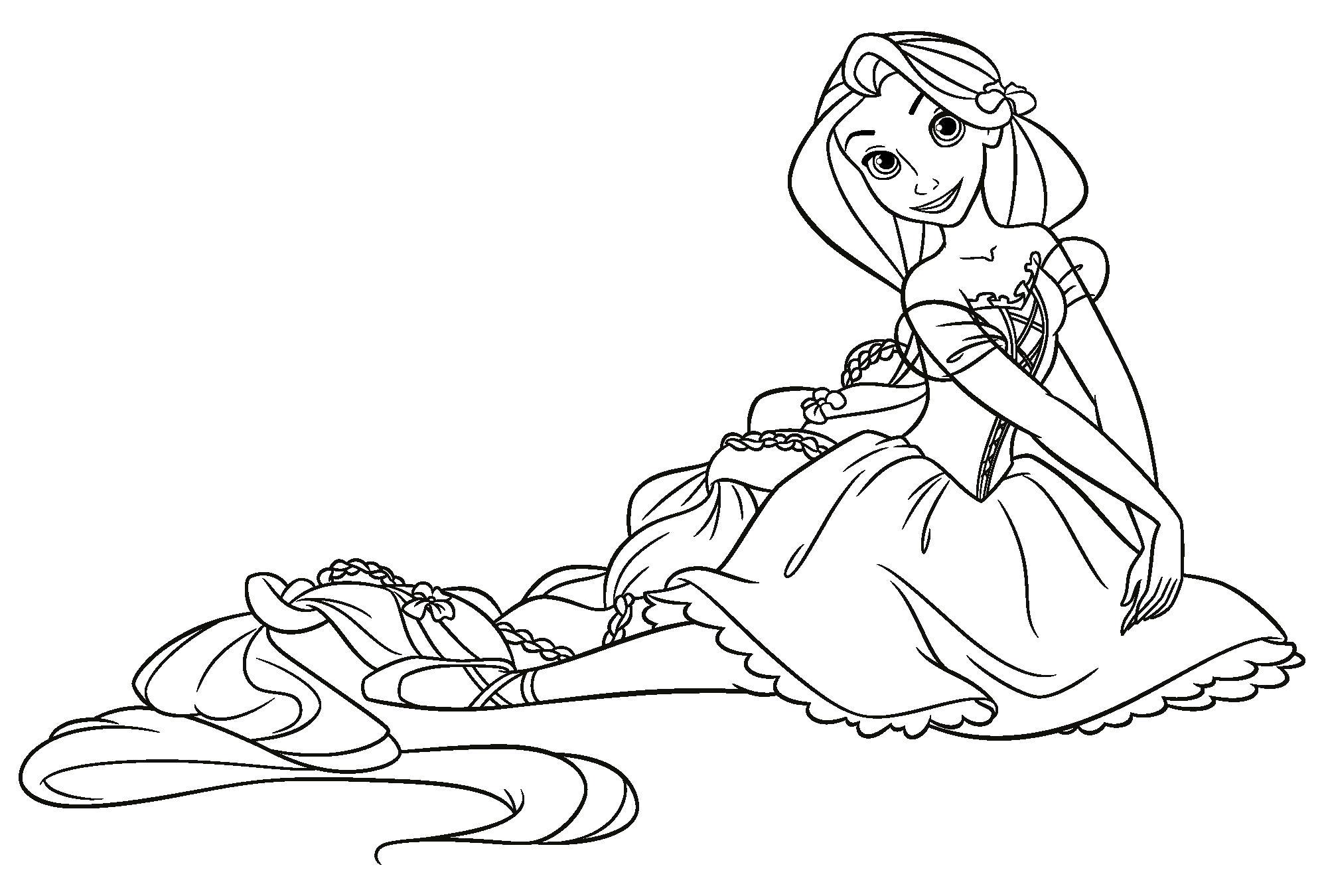 Раскраска Рапунцель балерина,  для девочек. Скачать Рапунцель.  Распечатать Рапунцель