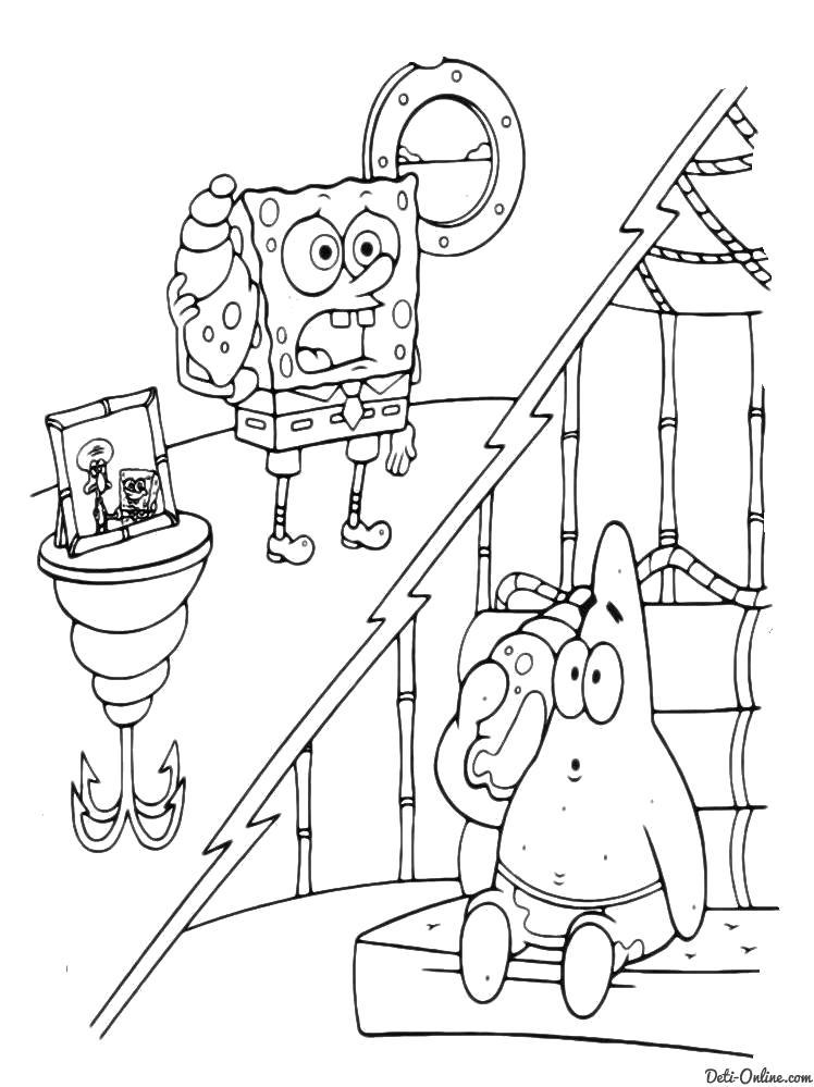 Раскраска  Губка Боб и Патрик приветствуют Сквидварда. Скачать Патрик.  Распечатать Патрик