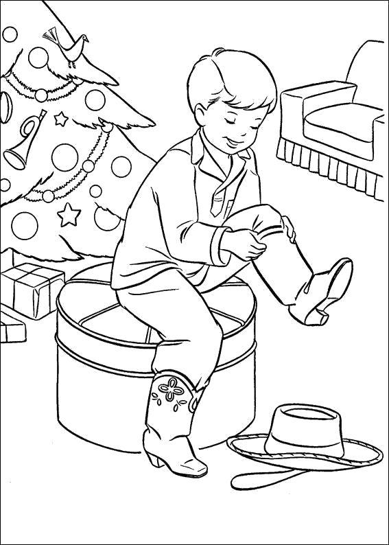 Раскраска Новогодние  для детей, мальчик собирается на улицу, . Скачать новогодние.  Распечатать новогодние