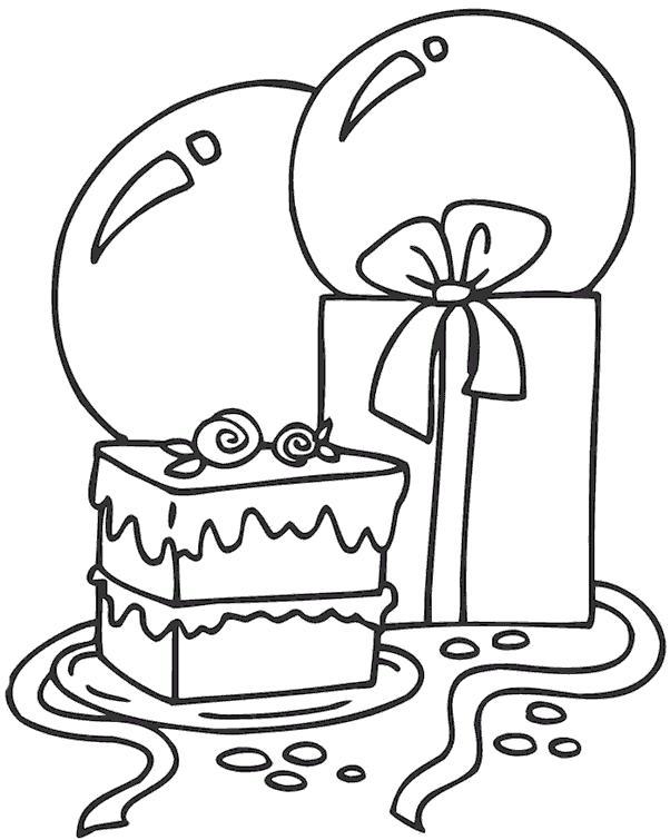 Раскраска праздничная , подарки с шариками, бантик. Скачать Подарки.  Распечатать Подарки
