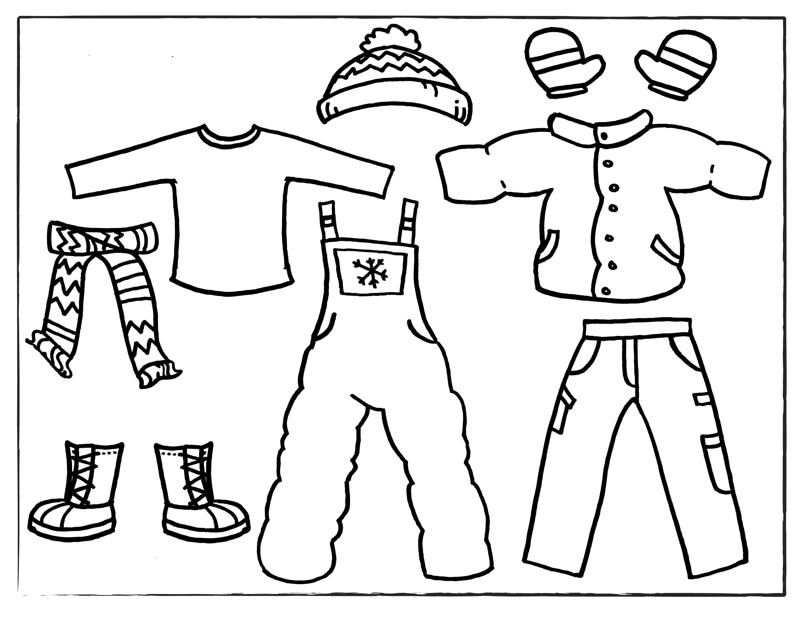 Раскраска  одежда. Скачать Зимняя одежда.  Распечатать Зимняя одежда