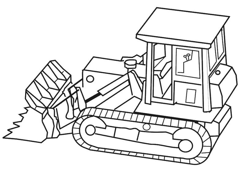 Раскраска Бульдозер. Скачать строительная техника.  Распечатать для мальчиков