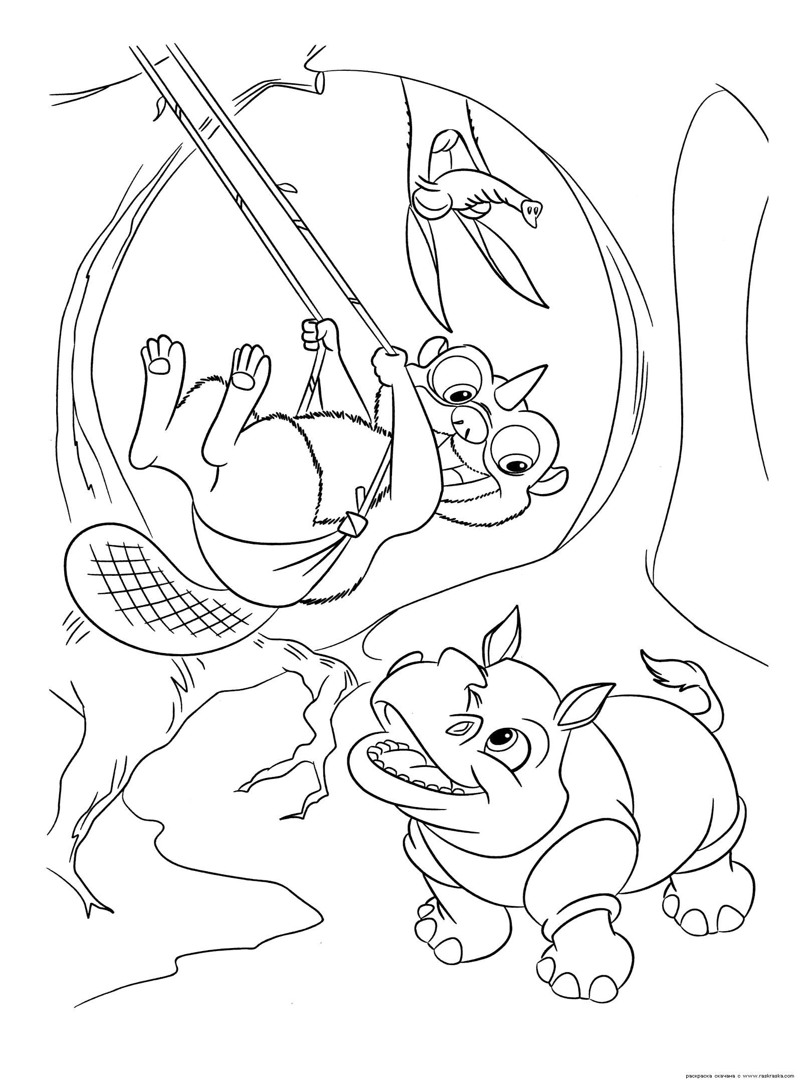 Раскраска  Детская площадка.  Ленивец сказал, что площадка открыта!  из мультфильма Ледниковый период 3 : Эра динозавров, разукрашка для детей. Скачать динозавр.  Распечатать динозавр