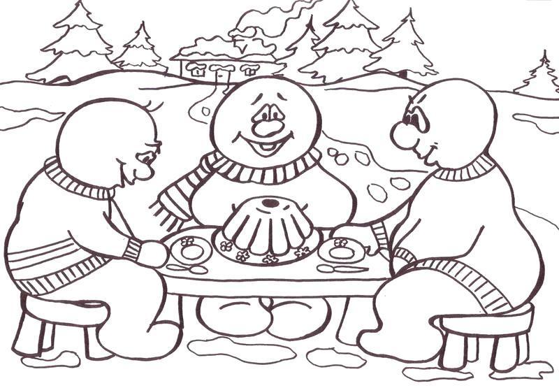 Раскраска Снеговики за обедом. Скачать .  Распечатать