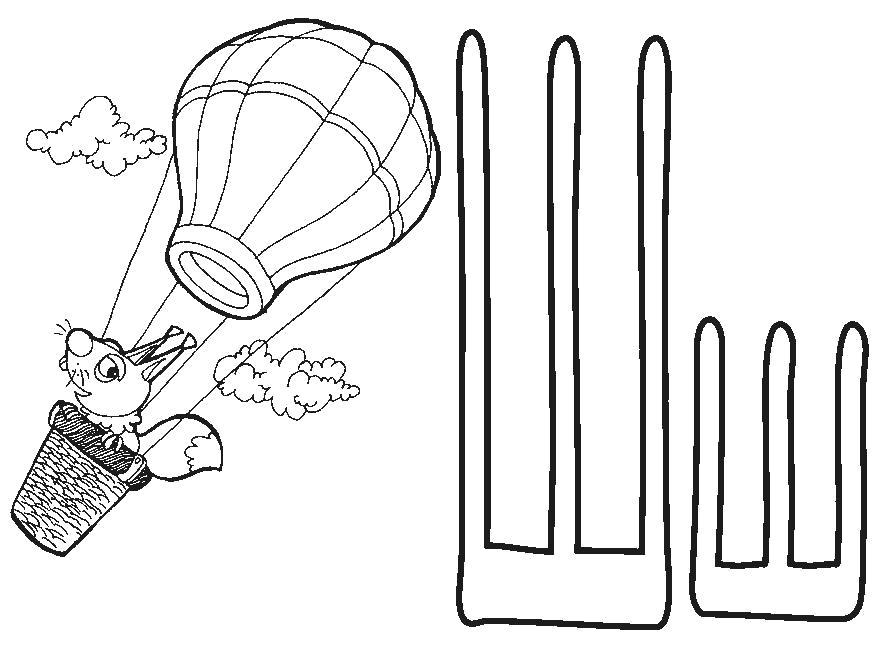 Раскраска русский алфавит, буква Ш, Шар, Воздушный шар, Белка летит на шаре. Скачать Азбука.  Распечатать Азбука
