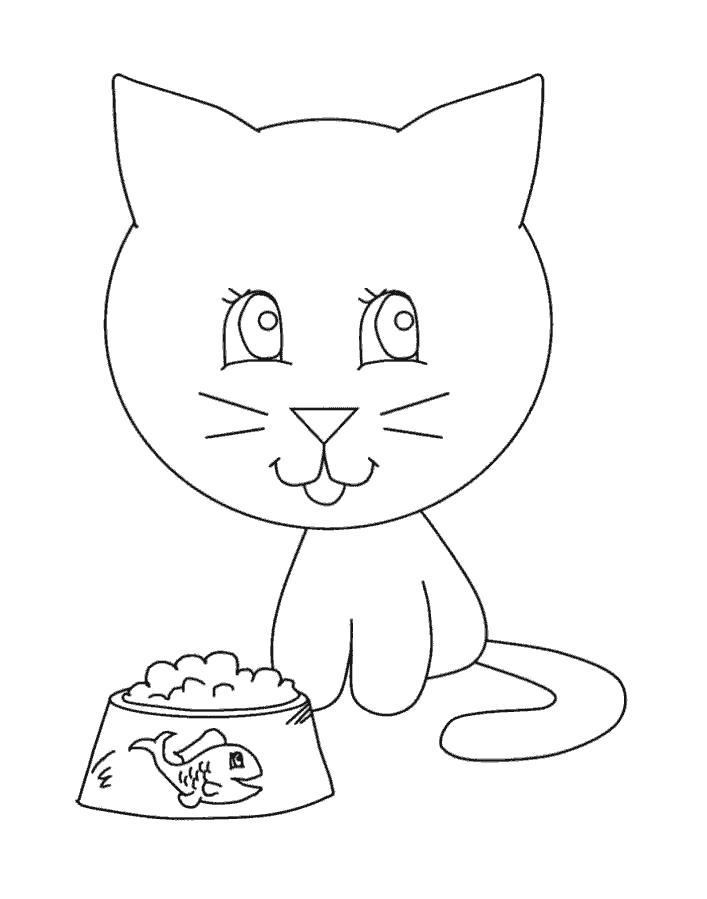 Раскраска Дождался обеда. Скачать кошка, кот, Котенок.  Распечатать Домашние животные