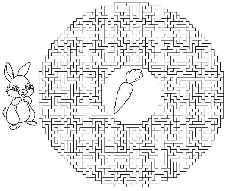 Раскраска очень сложный лабиринт, зайчик и морковка. Скачать лабиринт.  Распечатать лабиринт