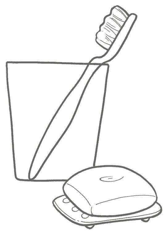 Раскраска Зубная щетка стоит в стакане,  мыло. Скачать Зубная щетка.  Распечатать Зубная щетка