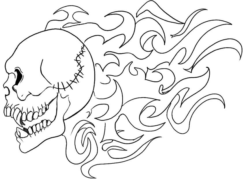 Раскраска Горящий череп. Скачать Череп.  Распечатать Череп