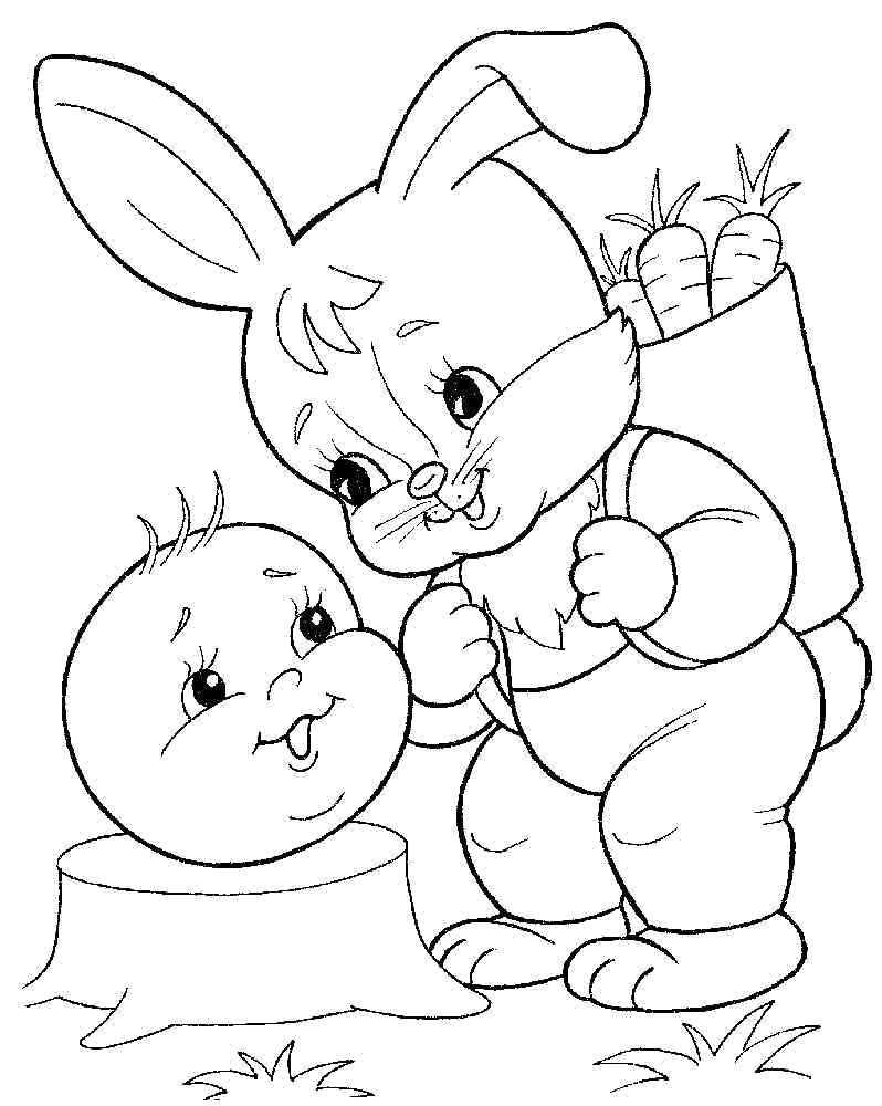 Раскраска заяц и колобок. Скачать колобок.  Распечатать колобок