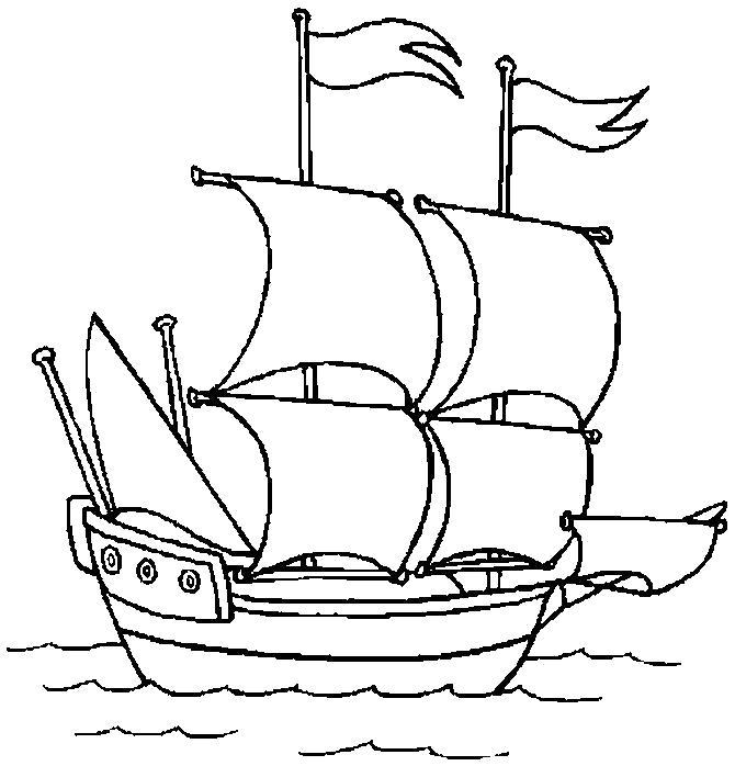 Раскраска  Кораблик.  Детская разукрашка. Скачать Кораблик.  Распечатать Кораблик