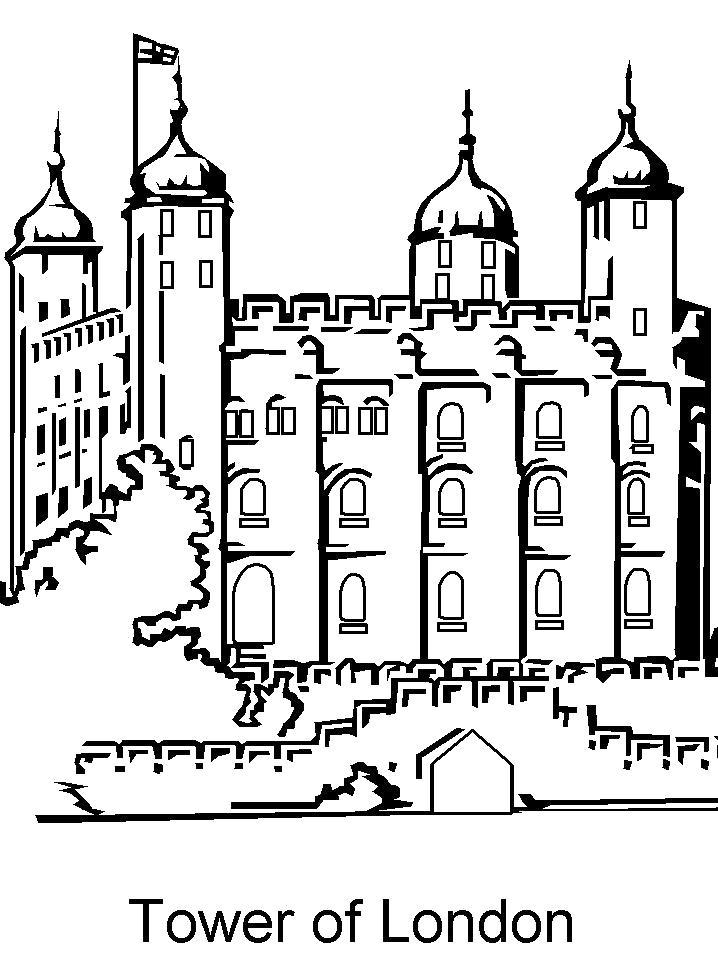 Раскраска  Лондонская башня. Скачать .  Распечатать