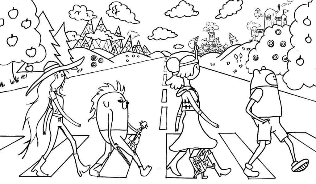 Раскраска Персонажи Время приключений. Скачать Фин, Джейк, принцесса бубльгум, Марселин.  Распечатать Время приключений