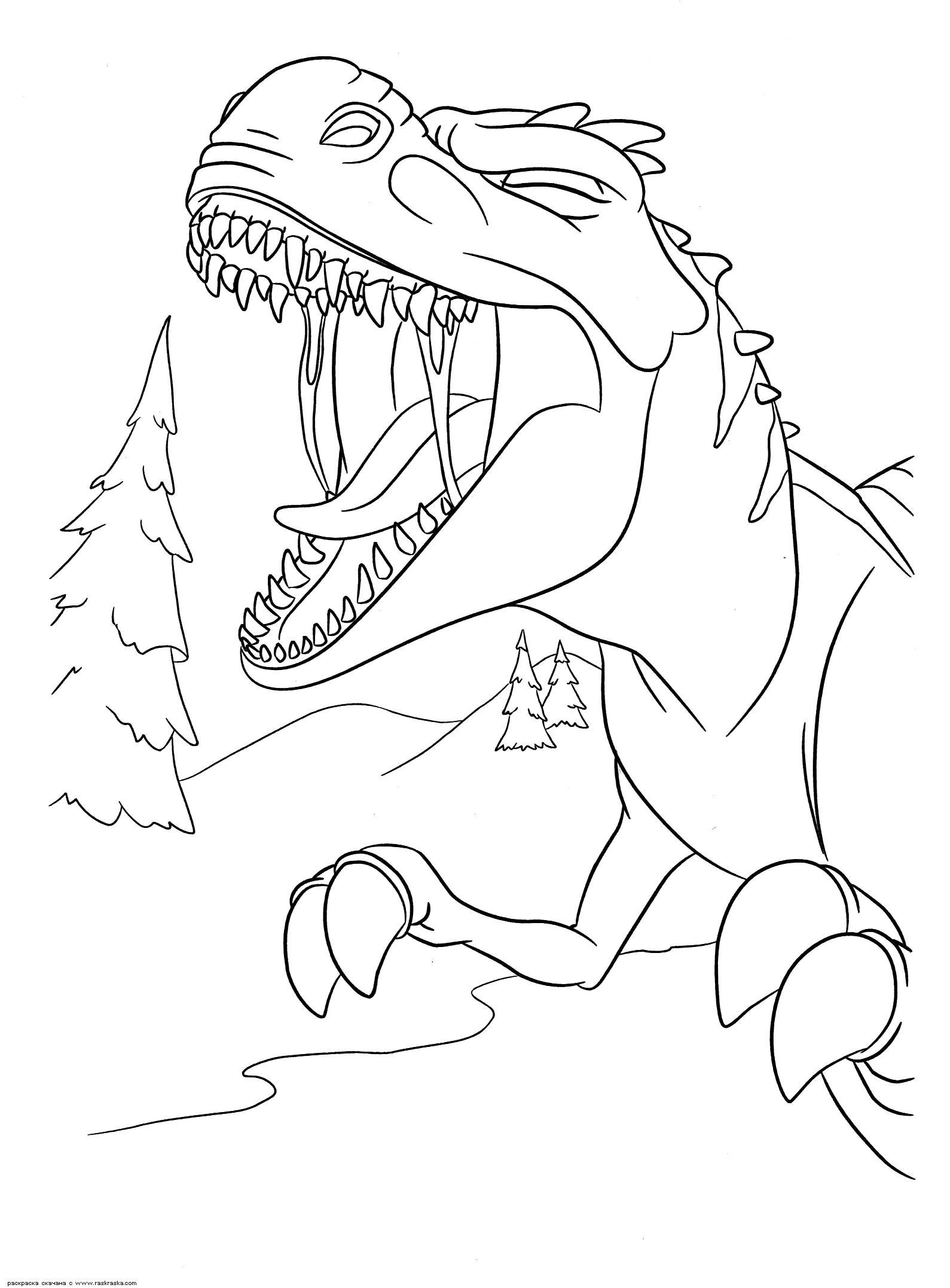 Раскраска  Громкий рёв мамаши.   динозавра из мультика Ледниковый период 3: Эра динозавров. Разукрашка скачать бесплатно. Скачать динозавр.  Распечатать динозавр