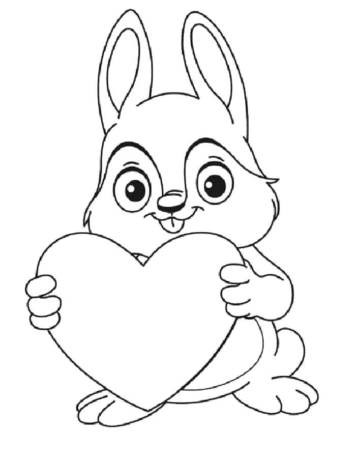 Раскраска  День Святого Валентина, зайчик с сердцем. Скачать день Святого Валентина.  Распечатать день Святого Валентина