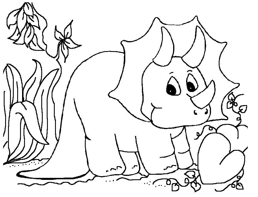 Раскраска Трицератопс. Скачать динозавр.  Распечатать динозавр