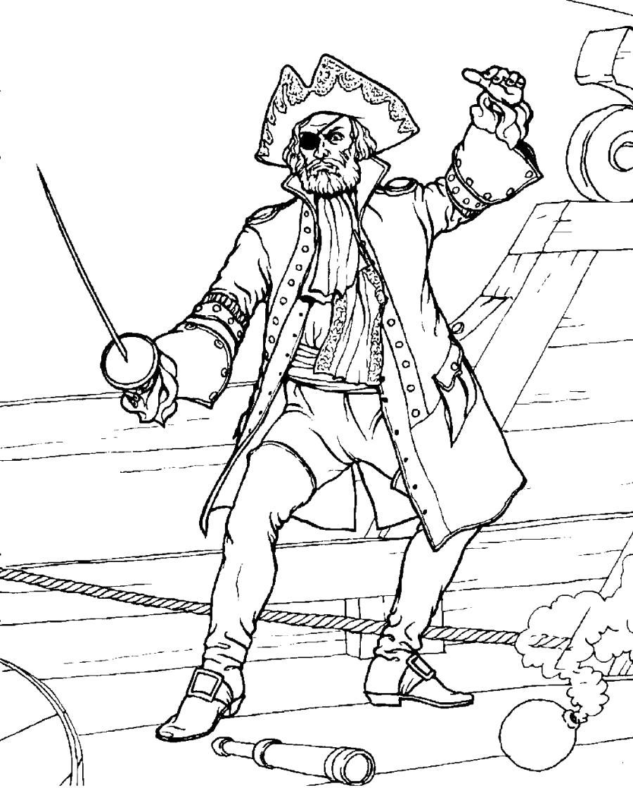 Раскраска Капитан со шпагой. Скачать .  Распечатать