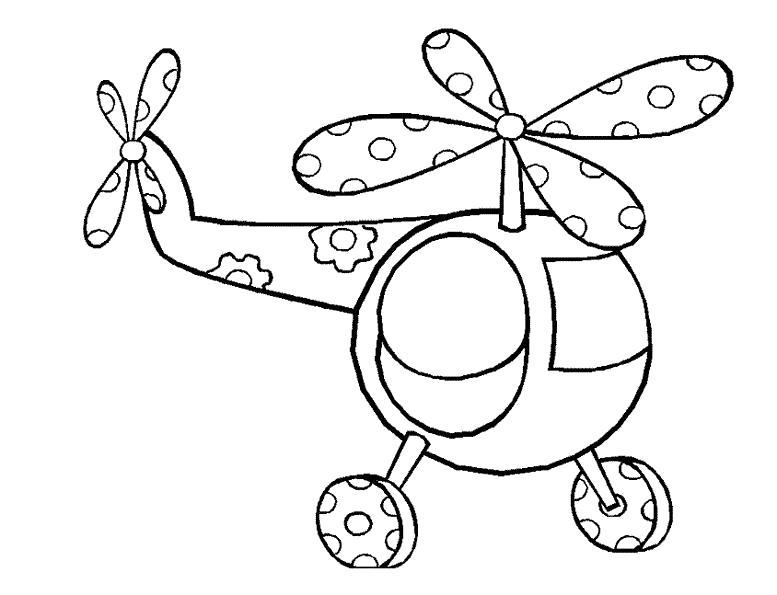 Раскраска Самолет в цветочки. Скачать вертолет.  Распечатать вертолет