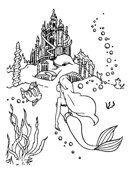 Раскраска Ариэль плывёт к замку. Скачать .  Распечатать