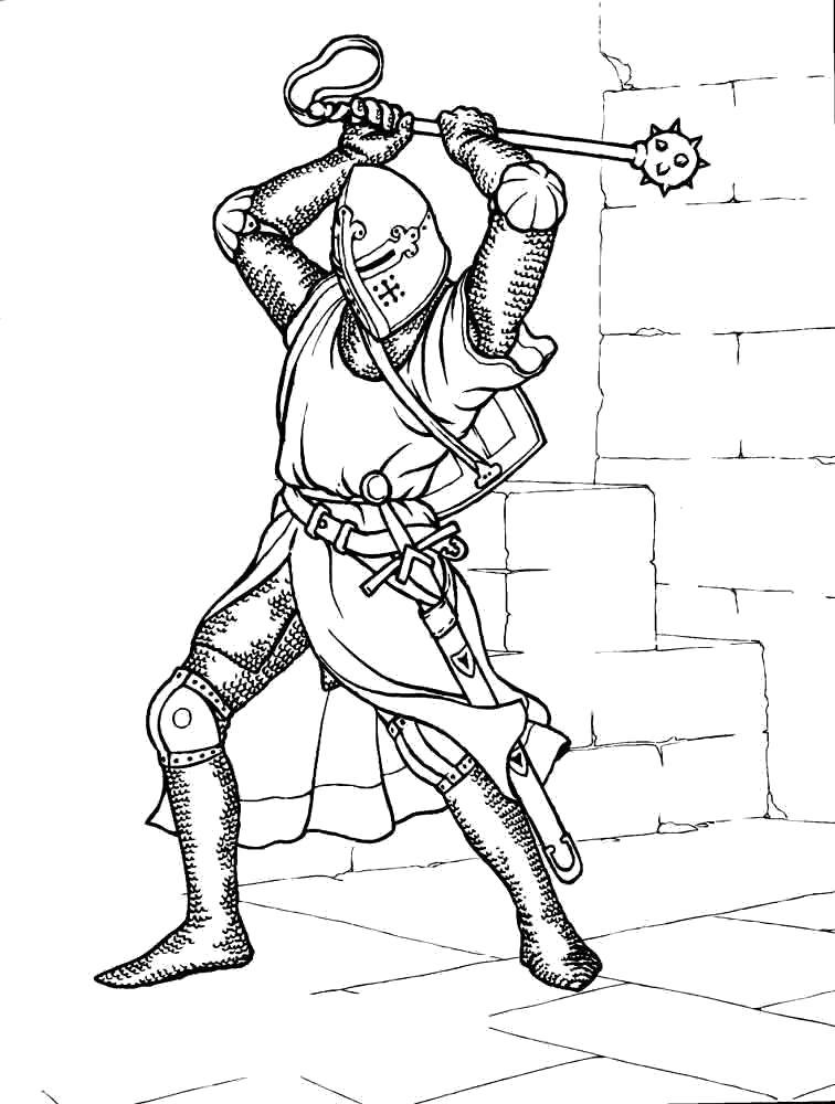 Раскраска Рыцарь с кувалдой. Скачать рыцари.  Распечатать рыцари
