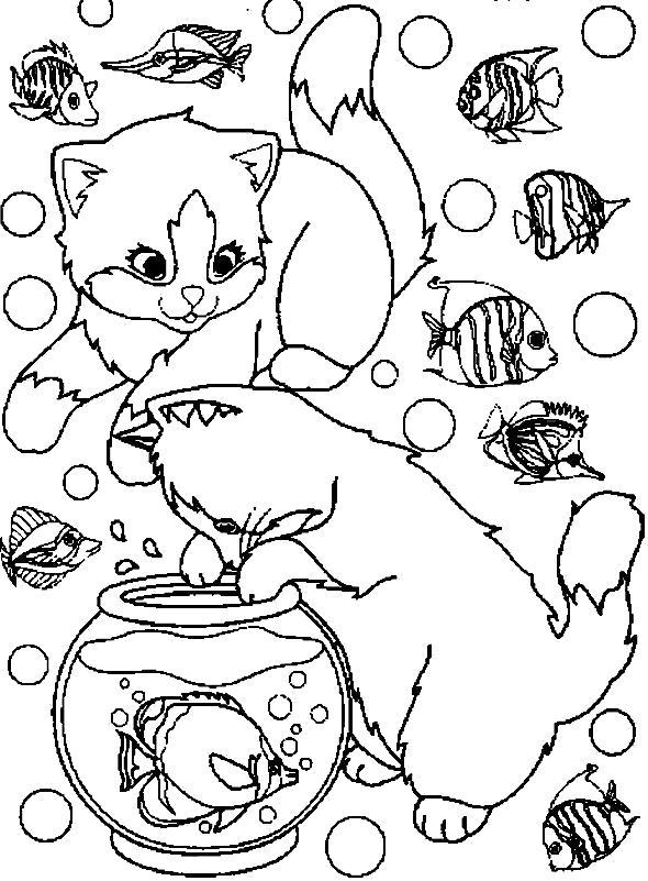 Раскраска  котов и котят. Скачать Котенок.  Распечатать Домашние животные