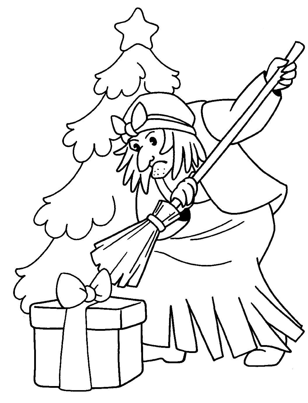 Название: Раскраска Баба Яга. Раскраски для детей.. Категория: герои сказок. Теги: баба яга.