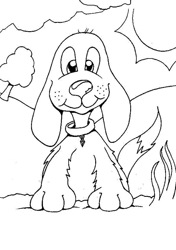 Раскраска Собачка. Скачать Собаки.  Распечатать Собаки