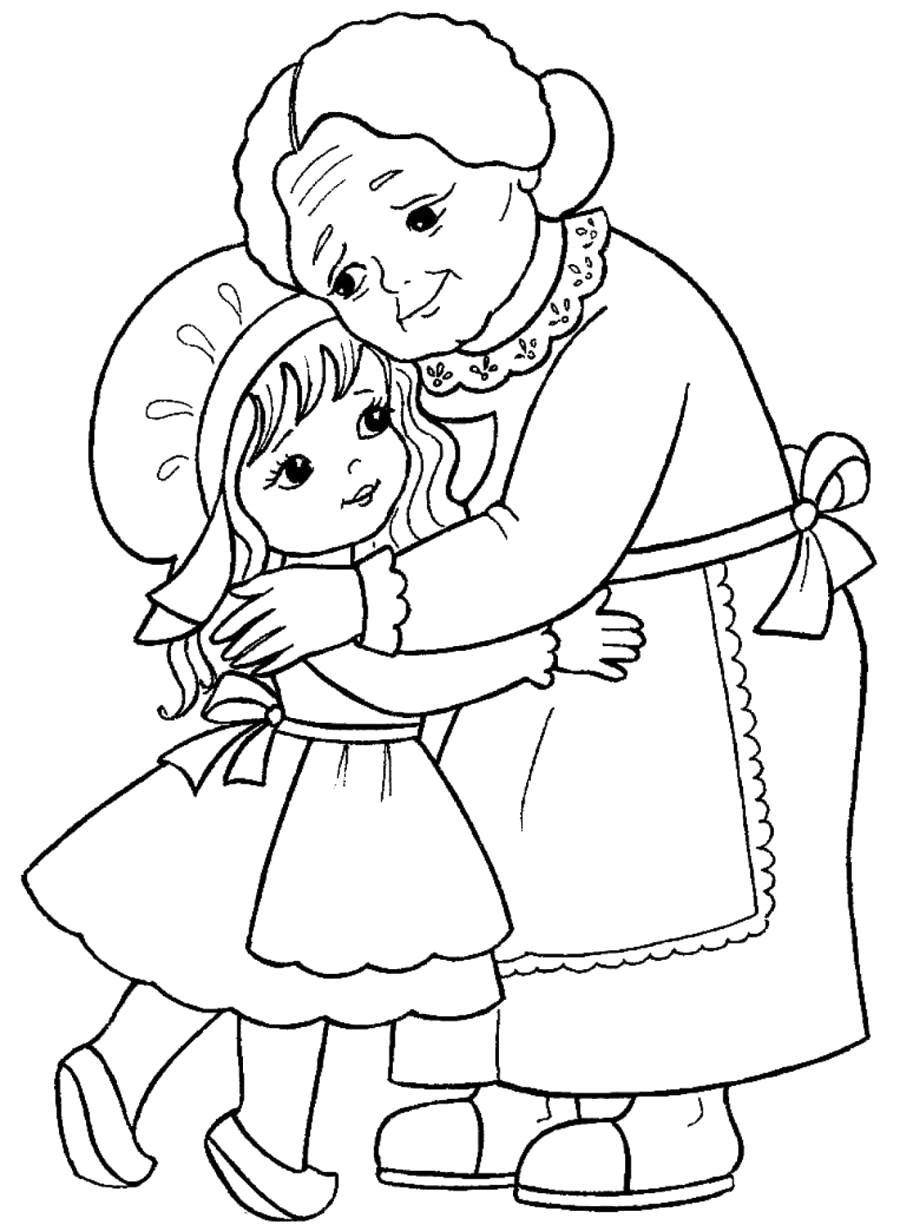 Раскраска Красная Шапочка и бабушка. Скачать красная шапочка.  Распечатать красная шапочка