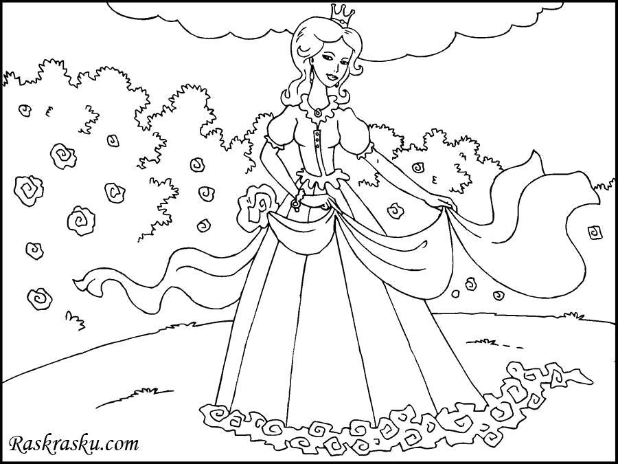 Раскраска Принцесса в лесу. Скачать принцесса.  Распечатать принцесса