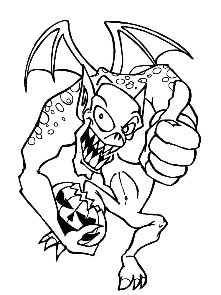 Раскраска ужасный монстр с тыквой. . Скачать тыква на хэллоуин, ужасы, монстр.  Распечатать Хэллоуин