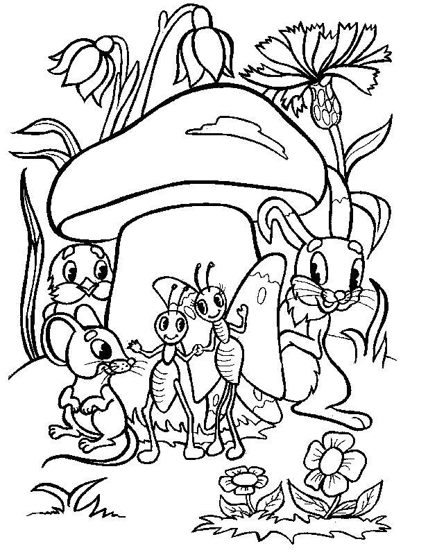 Раскраска Лесные жители. Скачать гриб.  Распечатать гриб