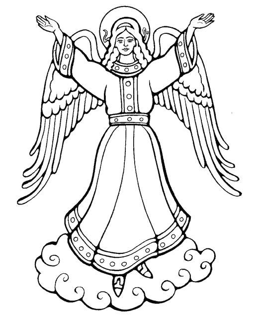 Раскраска Ангел в небесах. Скачать .  Распечатать