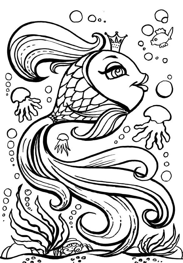 Раскраска сказка золотая рыбка, красивая рыбка, рыбка исполняющая желания. Скачать золотая рыбка.  Распечатать золотая рыбка