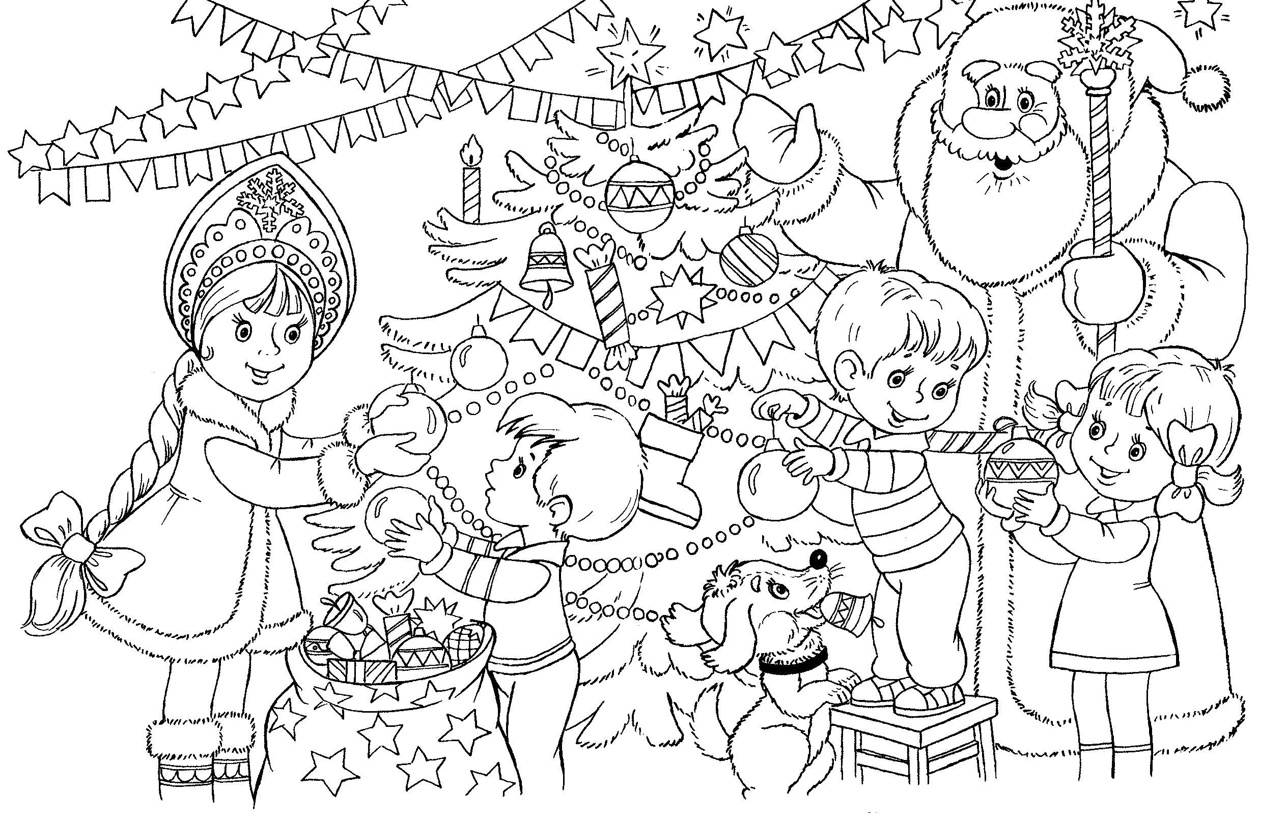 Раскраска дед мороз и его друзья украшают елку, дед мороз и снегурочка наряжают елку. Скачать новогодние.  Распечатать новогодние