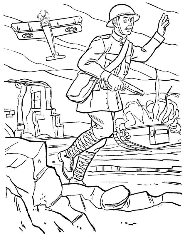 Раскраска  военные, с днем победы, солдат, самолет, солдат бежит. Скачать .  Распечатать