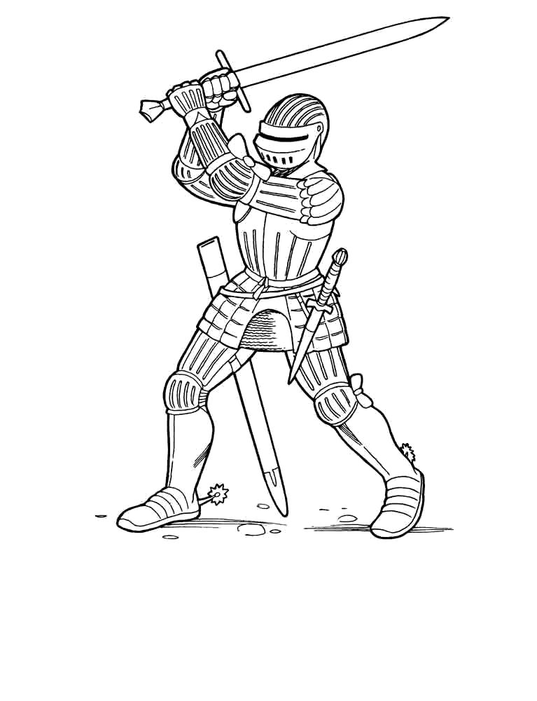 Раскраска Два меча. Скачать рыцари.  Распечатать рыцари