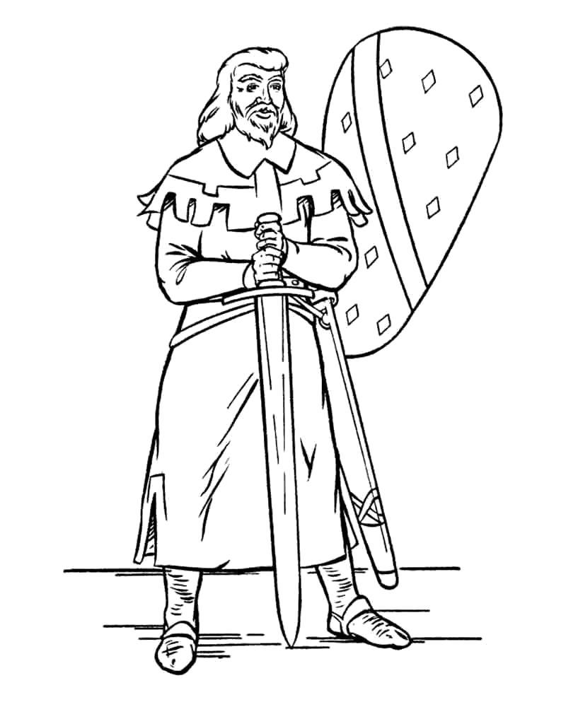Раскраска Храбрый Рыцарь. Скачать рыцари.  Распечатать рыцари