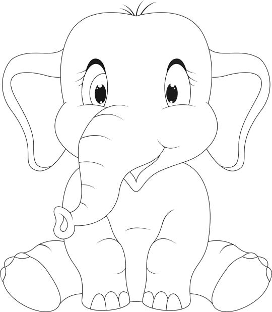 Раскраска слоник сидит. Скачать слон.  Распечатать слон