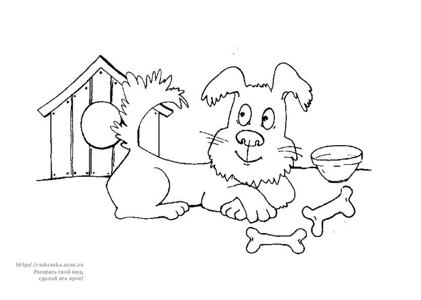 Раскраска Собака левит возле будки, . Скачать Собака.  Распечатать Собака