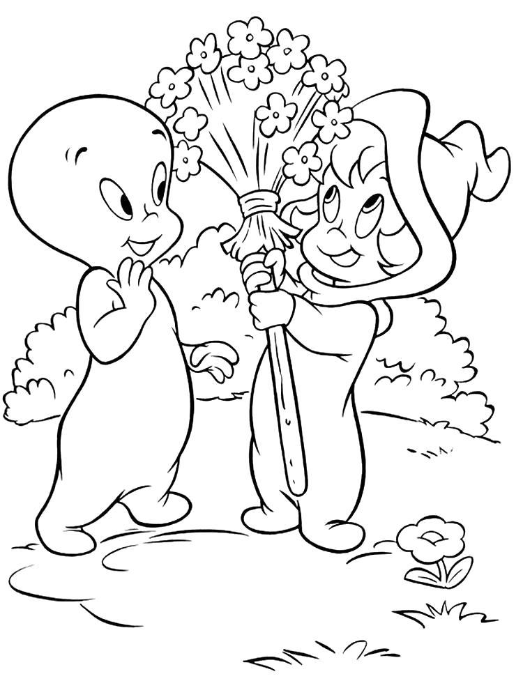 Раскраска  Каспер подарил цветочки. Скачать каспер.  Распечатать каспер