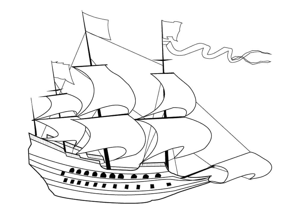 Название: Раскраска корабль с парусами. Категория: корабли. Теги: корабли.